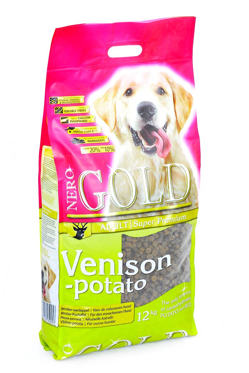 NERO GOLD super premium Для Взрослых собак c Олениной и сладким картофелем (Venison&Potato 20/10), 12 кг.10073Состав: дегидрированная оленина (мин. 21 %), рис, картофельная мука (мин. 20 %), мякоть свеклы, льняное семя, куриный жир, гидролизованная куриная печень, минералы и витамины, дрожжи, подсолнечное масло, гидролизованные хрящи (источник хондроитина), гидролизат ракообразных (источник глюкозамина), L-карнитин, лецитин, инулин (ФОС), таурин. Условия хранения: в прохладном темном месте.