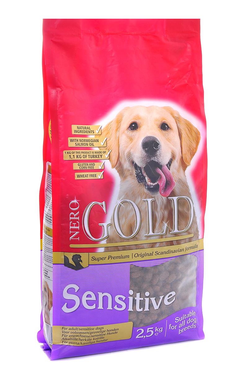 NERO GOLD super premium Для Чувствительных собак с Индейкой и рисом (Sensitive Turkey 23/13), 2,5 кг.10076Состав: дегидрированное мясо индейки, рис, куриный жир, мякоть свеклы, льняное семя, гидролизованная куриная печень, дрожжи, минералы и витамины, гидролизованные хрящи (источник хондроитина), гидролизат ракообразных (источник глюкозамина), L-карнитин, лецитин, инулин (ФОС), таурин. Условия хранения: в прохладном темном месте.