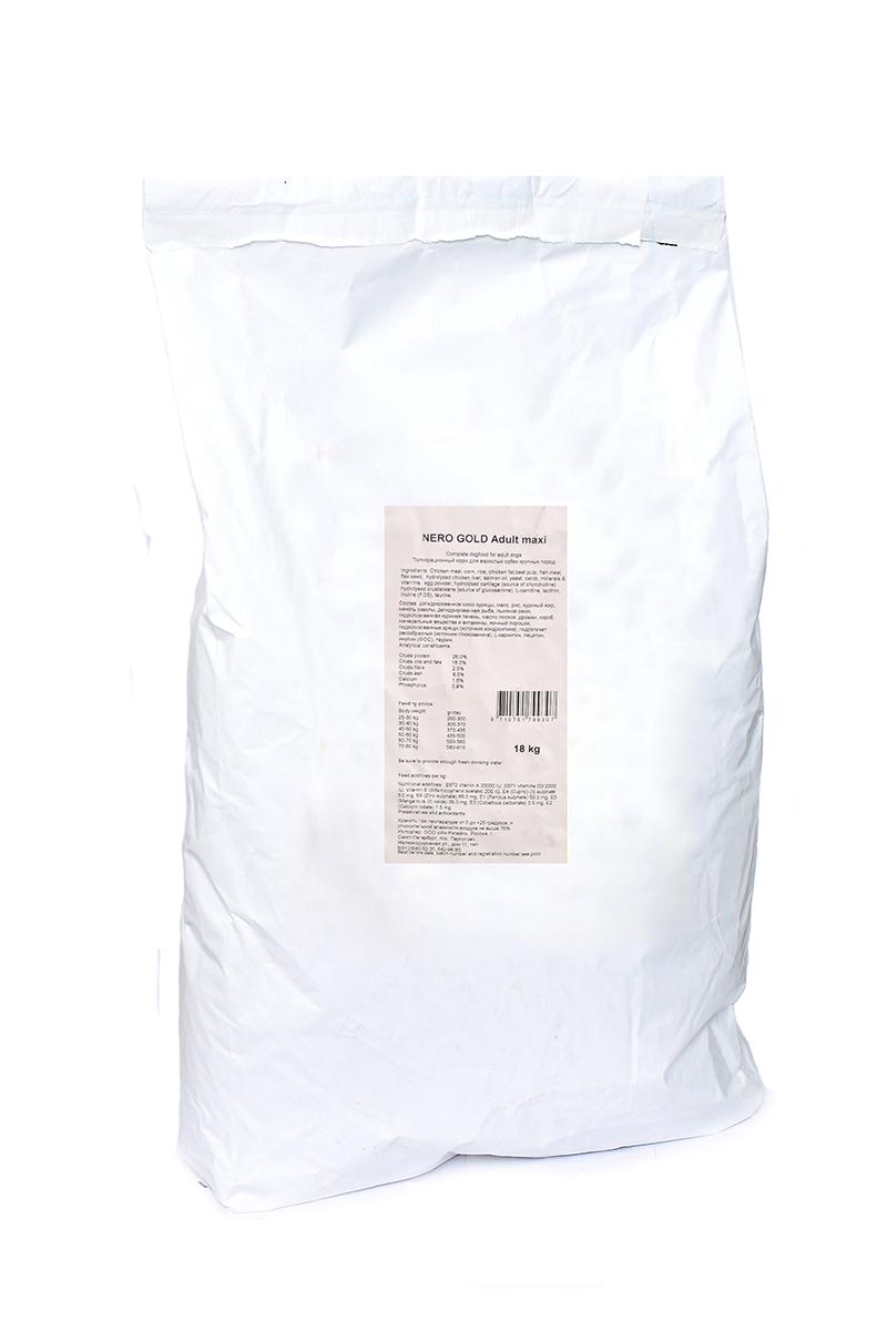 NERO GOLD super premium Для Взрослых собак Крупных пород (Adult Maxi 26/16), 18 кг.10195Состав: дегидрированное мясо курицы, маис, рис, куриный жир, мякоть свеклы, дегидрированная рыба, льняное семя, гидролизованная куриная печень, масло лосося, дрожжи, кэроб, минеральные вещества и витамины, яичный порошок, гидролизованные хрящи (источник хондроитина), гидролизат ракообразных (источник глюкозамина), L-карнитин, лецитин, инулина (ФОС), таурин. Условия хранения: в прохладном темном месте.