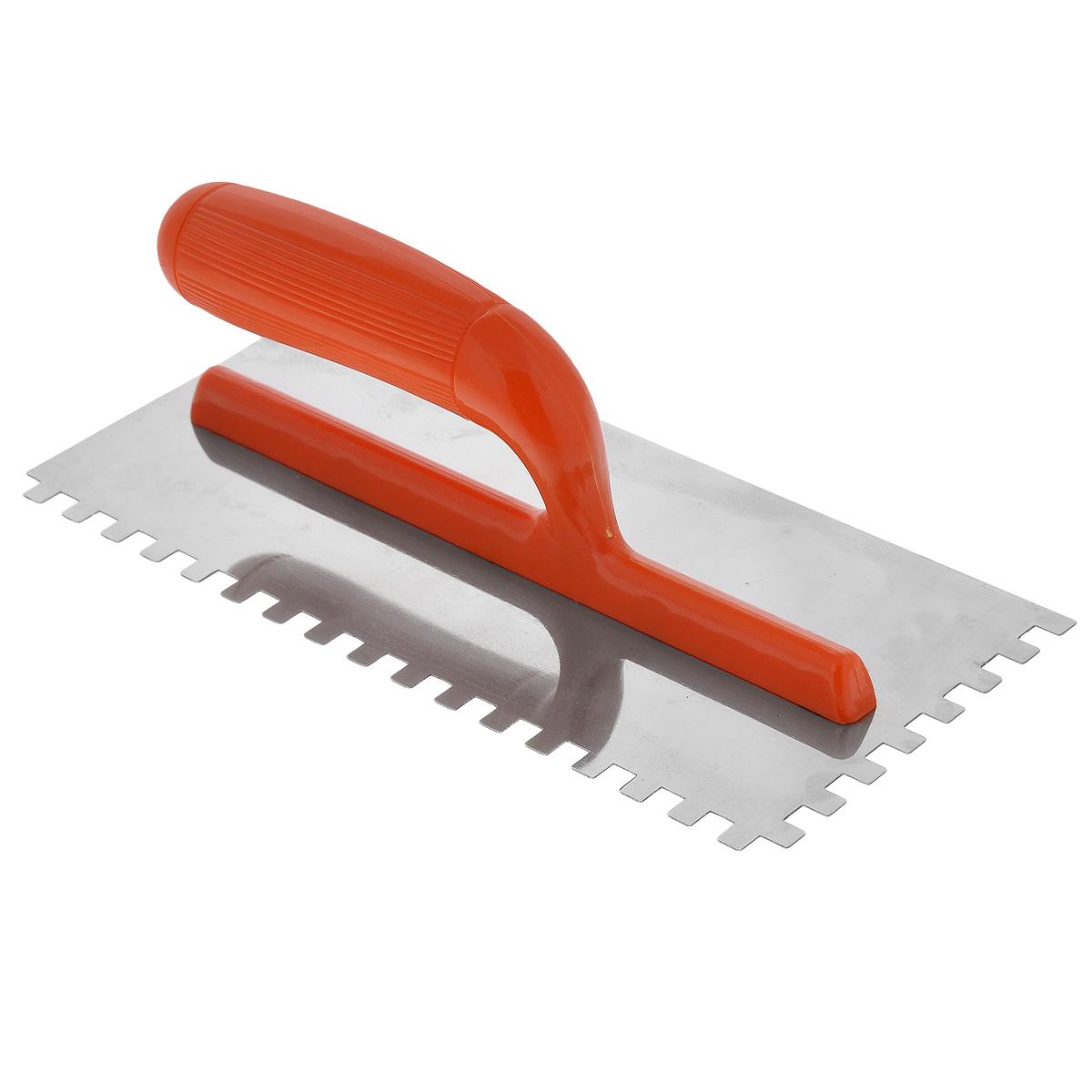 Гладилка зубчатая FIT, цвет: оранжевый, зуб 8 мм, 28 х 13 см05168_оранжевыйГладилка зубчатая FIT изготовлена из нержавеющей стали, снабжена пластиковой ручкой. Изделие используется в штукатурно-отделочных работах для равномерного распределения растворов, смесей и клеев на большую по площади поверхность. Размер зубьев: 8 мм х 8 мм. Размеры рабочей поверхности: 28 см х 13 см.