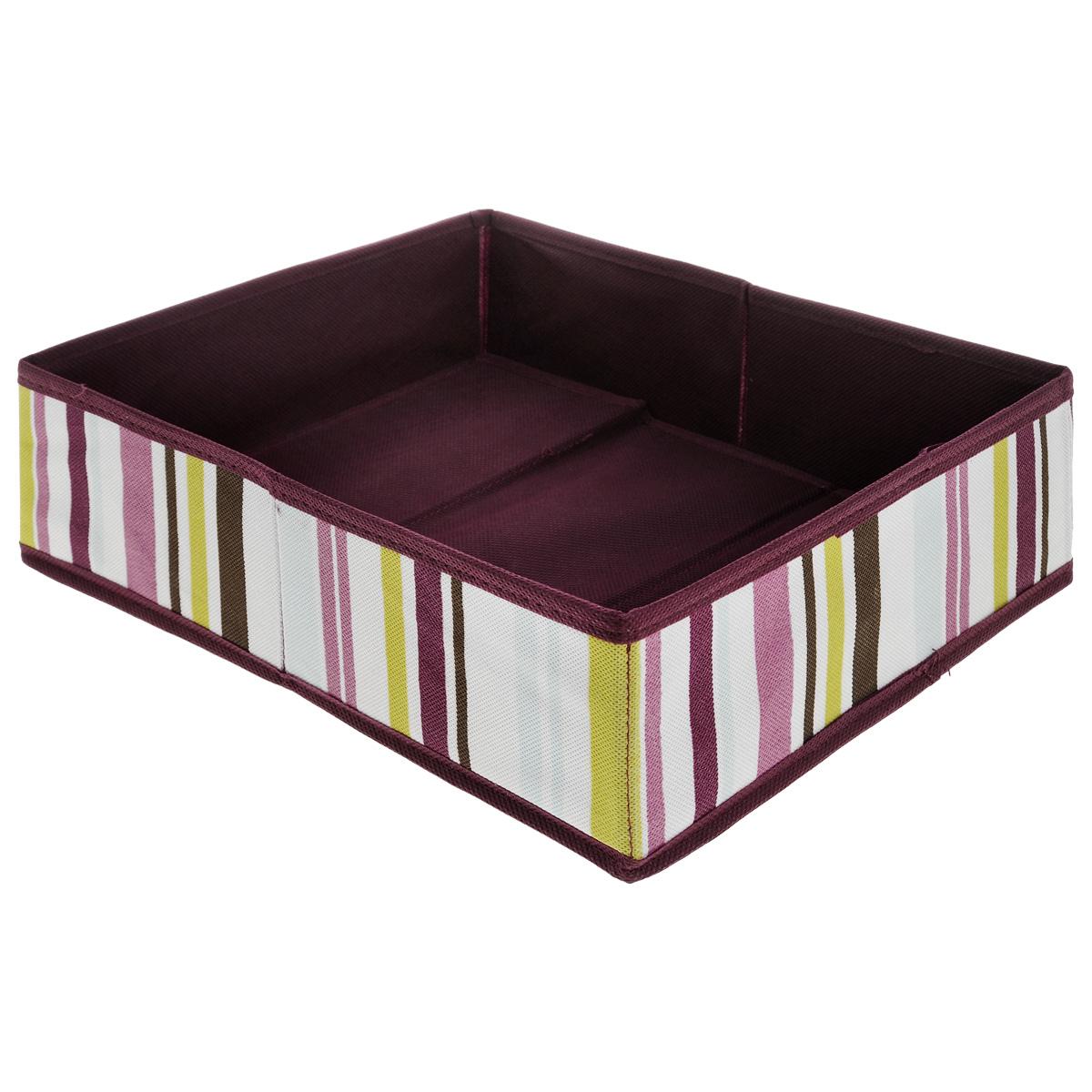 Коробка для хранения Hausmann, цвет: баклажан, 27 х 33 х 10 смSC-2733Коробка для хранения Hausmann поможет легко организовать пространство в шкафу или в гардеробе. Изделие выполнено из нетканого материала. Коробка держит форму благодаря жесткой вставке из картона, которая устанавливается на дно. Боковая поверхность оформлена ярким принтом в полоску. В такой коробке удобно хранить одежду, нижнее белье, носки и различные аксессуары.