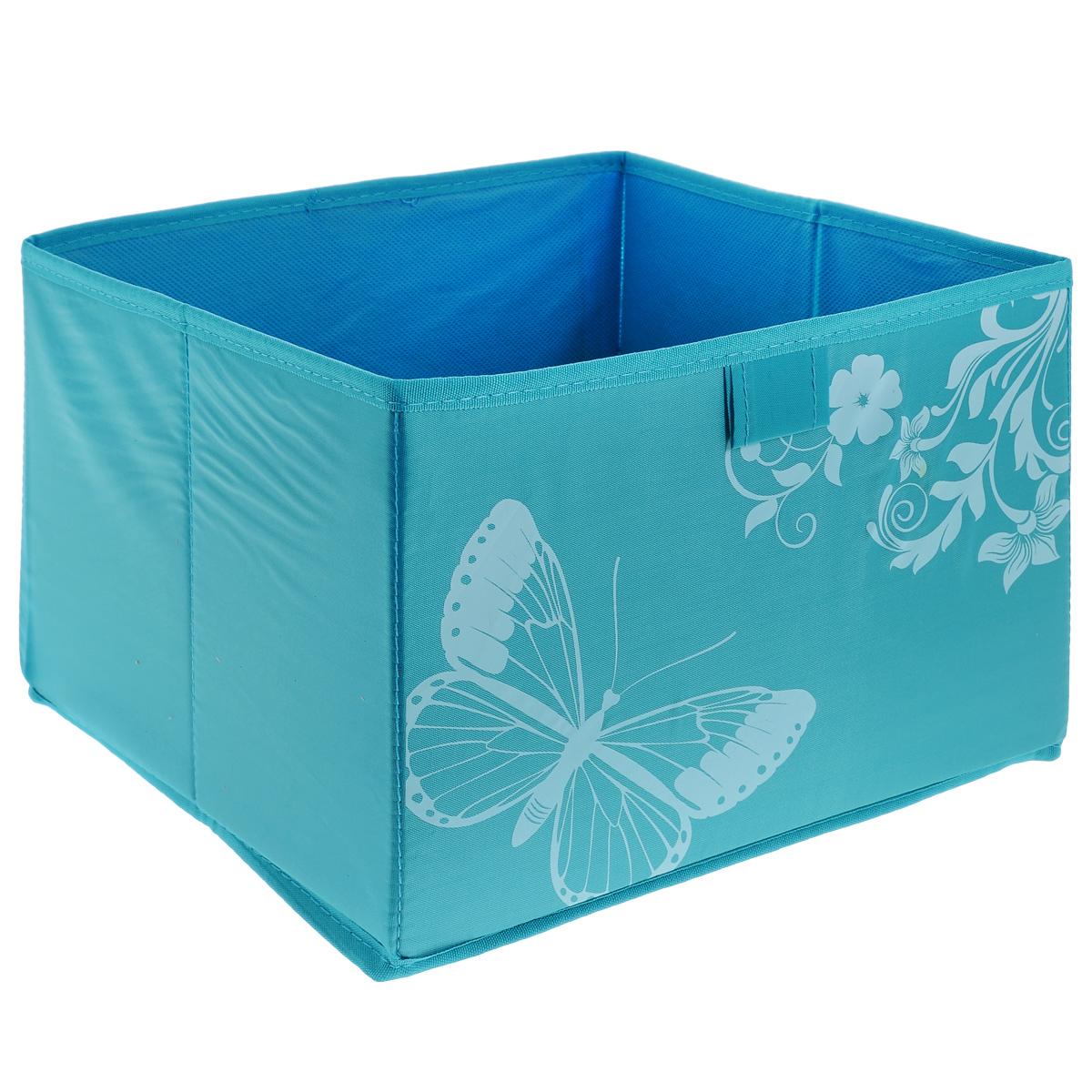 Коробка для хранения Hausmann Butterfly, цвет: бирюзовый, 28 см х 27 см х 20 см4P-106-4СКоробка для хранения Hausmann поможет легко организовать пространство в шкафу или в гардеробе. Изделие выполнено из нетканого материала и полиэстера. Коробка держит форму благодаря жесткой вставке из картона, которая устанавливается на дно. Боковая поверхность оформлена красивым принтом и изображением бабочки. В такой коробке удобно хранить одежду, нижнее белье, различные аксессуары.