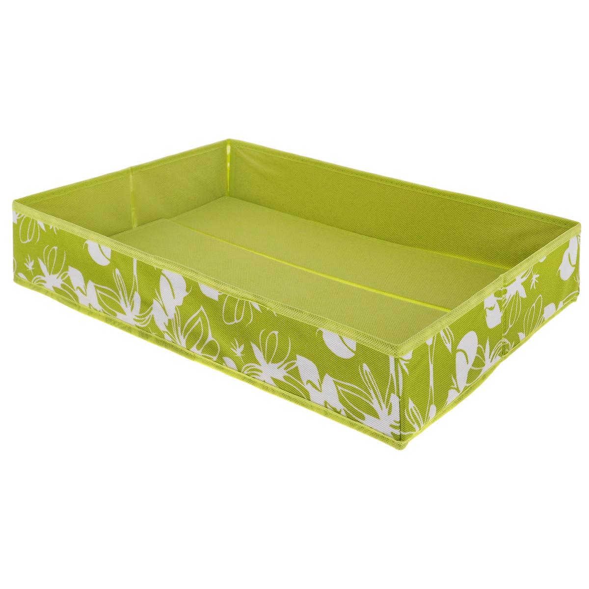 Коробка для хранения Hausmann, цвет: салатовый, 54 см х 33 см х 10 смSC-5433Коробка для хранения Hausmann поможет легко организовать пространство в шкафу или в гардеробе. Изделие выполнено из нетканого материала с жесткой вставкой из картона на дне. Боковая поверхность оформлена красивым орнаментом. В такой коробке удобно хранить одежду, рубашки, белье.