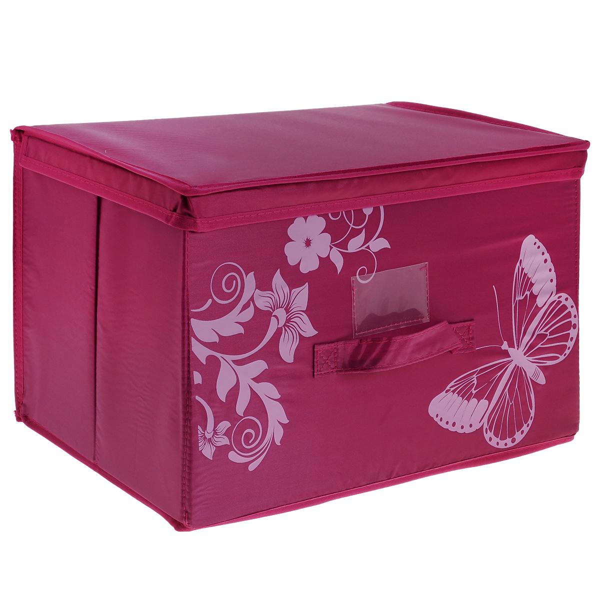 Коробка для хранения Hausmann Butterfly, цвет: розовый, 43 х 27 х 27 см4P-102-4CКоробка для хранения Hausmann поможет легко организовать пространство в шкафу или в гардеробе. Изделие выполнено из нетканого материала и полиэстера с защитой от пыли. Коробка держит форму благодаря жесткой вставке из картона, которая устанавливается на дно. Боковая поверхность оформлена красивым принтом и изображением бабочки. Имеется ручка, крышка и прозрачный карман для пометки содержимого. В такой коробке удобно хранить одежду, текстиль, нижнее белье и различные аксессуары. Может быть использована как выдвижной ящик.