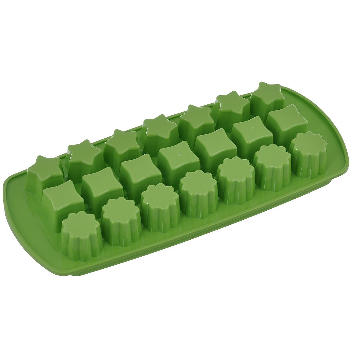 Форма для льда Tescomа Presto, цвет: зеленый, 21 ячейка420706_зеленыйФорма для льда Tescoma Presto выполнена из прочного пластика. За один раз вы можете приготовить 21 кубик льда. Теперь на смену традиционным квадратным пришли новые оригинальные формы для приготовления фигурного льда, которыми можно не только охладить, но и украсить любой напиток. В формочки при заморозке воды можно помещать ягодки, такие льдинки не только оживят коктейль, но и добавят радостного настроения гостям на празднике! Общий размер формы: 27 см х 11,5 см х 3 см. Средний размер ячейки: 2,5 см х 2,5 см. Количество ячеек: 21 шт.