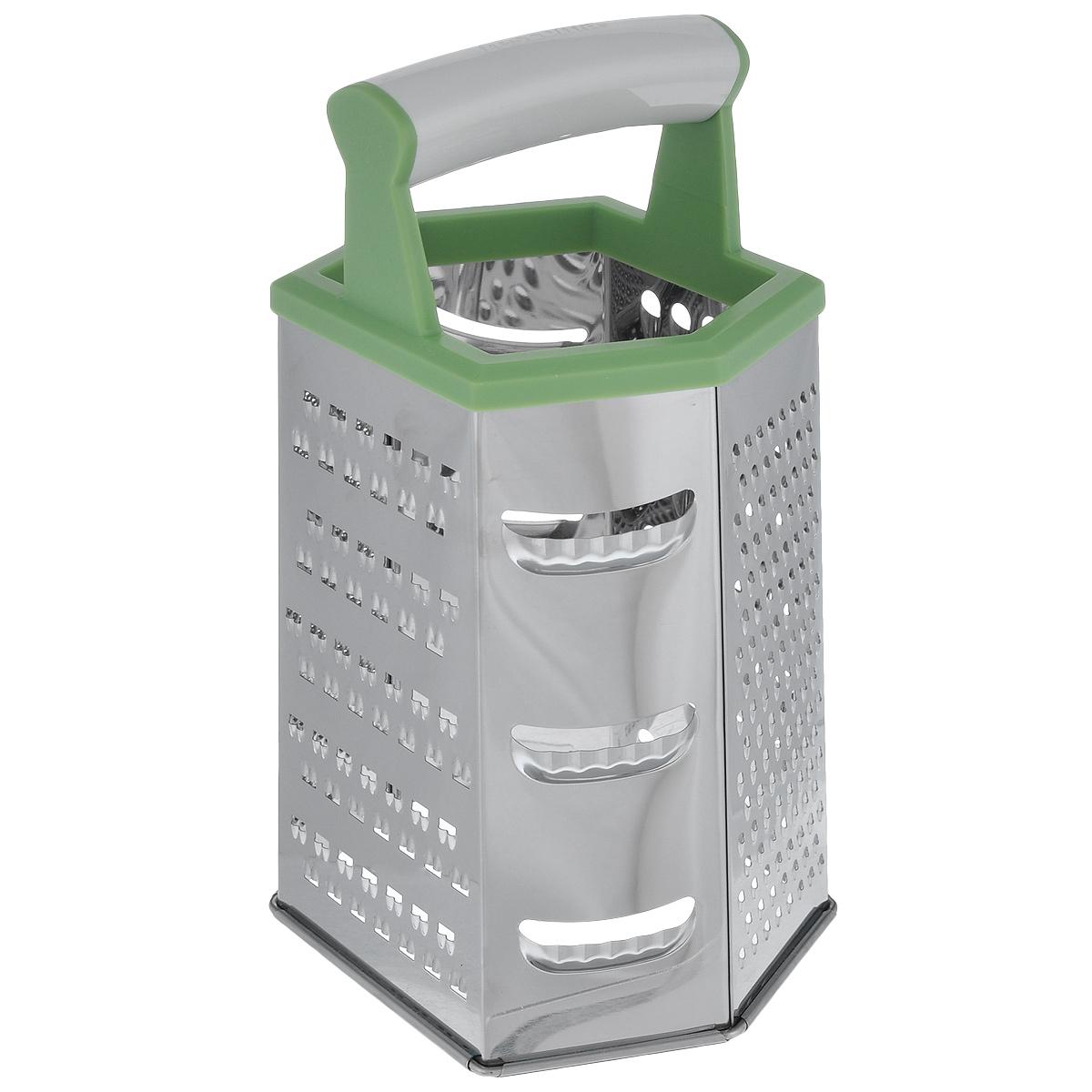 Терка шестигранная Tescoma Handy, цвет: зеленый, высота 22 см643784_зеленыйШестигранная терка Tescoma Handy, выполненная из высококачественной нержавеющей стали с зеркальной полировкой, станет незаменимым атрибутом приготовления пищи. Сверху на терке расположена удобная пластиковая ручка. Терка замечательна для простого и быстрого измельчения и нарезки продуктов на ломтики. На одном изделии представлены шесть видов терок - крупная, мелкая, терка для овощных пюре, фигурная, шинковка и шинковка фигурная. Современный стильный дизайн позволит терке занять достойное место на вашей кухне. Можно мыть в посудомоечной машине.