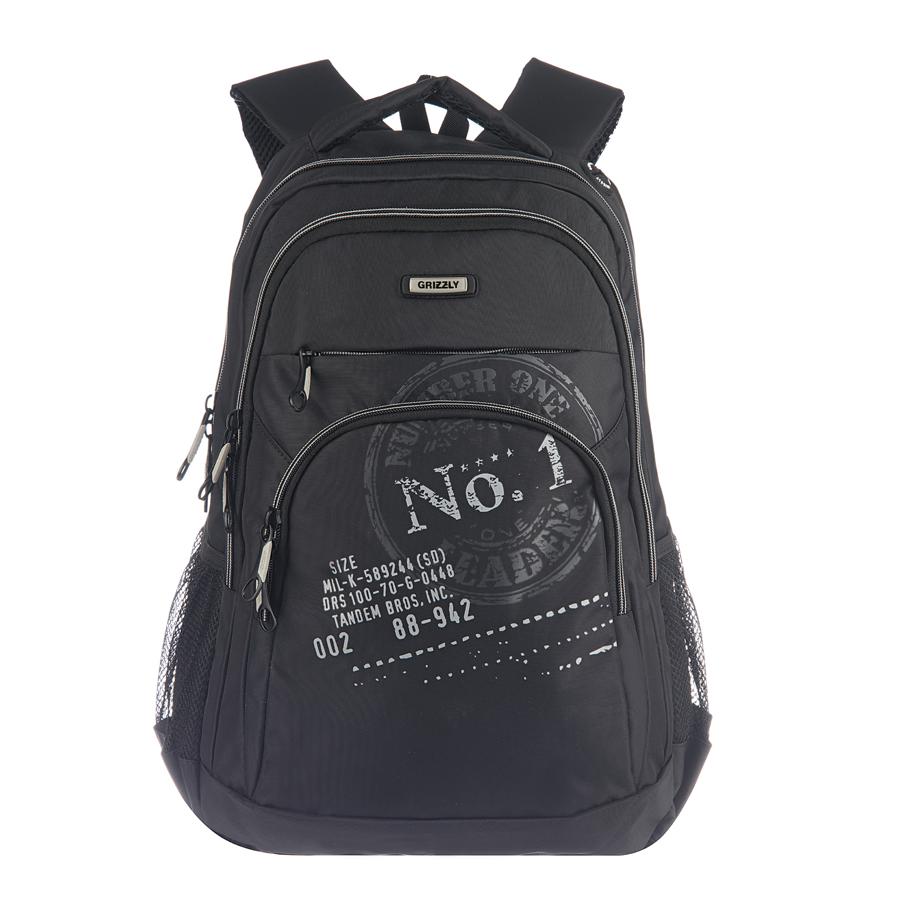 Рюкзак городской Grizzly, цвет: черный, серый, 26 л. RU-518-1/5RU-518-1/5Рюкзак Grizzly - это удобный и практичный рюкзак со множеством отделений и карманами, изготовленный из нейлона. Рюкзак имеет одно главное и одно дополнительное отделение, которые закрываются на застежку-молнию. Внутри основного отделения - карман на молнии, внутри дополнительного - четыре небольших кармашка для письменных принадлежностей. По бокам рюкзака - два сетчатых кармана на резинке. На передней панели - вместительный карман на молнии и потайной карман на молнии. Модель имеет укрепленную спинку с мягкими рельефными вставками и анатомическими лямками, а также ручку для переноски. Такой рюкзак - практичное и стильное приобретение на каждый день.