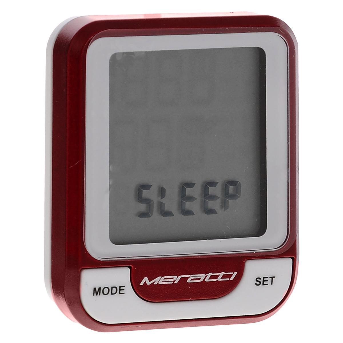 Велокомпьютер беспроводной Meratti, с кардиодатчикомC014Беспроводной компьютер Meratti выполнен из высококачественного прочного пластика. Оснащен кардиодатчиком C014. Компьютер питается от 1 батарейки CR2032 (в комплекте). Особенности: Аналоговый способ передачи сигнала 5.3K. Показания монитора: время (часы, минуты, секунды), скорость, средняя скорость, максимальная скорость, тенденция скорости, пульс, средний пульс, максимальный пульс, тенденция пульса, 4 пакета зон пульса, время поездки, суммарное время пробега, общий пробег, общий расход калорий. Режимы: SCAN.