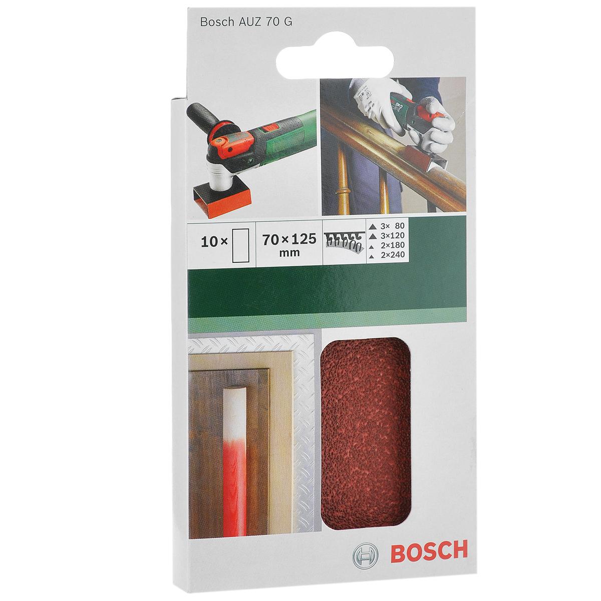 Лист шлифовальный Bosch AUZ 70 G, 70х125 мм, 10 шт2609256D33Шлифовальный лист Bosch предназначен для эксцентриковых шлифовальных машин. Крепится при помощи липучки и подходит для работ по дереву. Перфорация позволяет отводить шлифовальную пыль из рабочей зоны. В упаковке 10 штук.