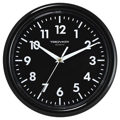 Часы настенные Troyka, цвет: черный. 2120020421200204Настенные кварцевые часы Troyka в классическом стиле, изготовленные из пластика, прекрасно подойдут под интерьер вашего дома. Круглые часы имеют три стрелки: часовую, минутную и секундную, циферблат защищен прозрачным пластиком. Диаметр часов: 24,5 см. Часы работают от 1 батарейки типа АА напряжением 1,5 В. Внимание! Часы укомплектованы бесплатным тестовым элементом питания для обеспечения их работоспособности при предпродажной подготовке и демонстрации рабочих функций.