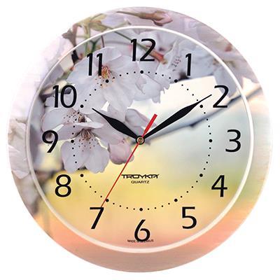 Часы настенные Troyka Жасмин, цвет: белый, желтый11000004Настенные кварцевые часы Troyka Жасмин в классическом стиле, изготовленные из пластика, прекрасно подойдут под интерьер вашего дома. Круглые часы имеют три стрелки: часовую, минутную и секундную. Циферблат, украшенный изображением цветов жасмина, защищен прозрачным пластиком. Диаметр часов: 29 см. Часы работают от 1 батарейки типа АА напряжением 1,5 В. Внимание! Часы укомплектованы бесплатным тестовым элементом питания для обеспечения их работоспособности при предпродажной подготовке и демонстрации рабочих функций.