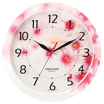 Часы настенные Troyka, цветные. 1100001911000019TROYKA 11000019 часы настенные (Цветущий сад, круг, пластик, полноцветная печать на пластике) Материал: пластик; размер: диаметр 290 мм; цвет: цветные