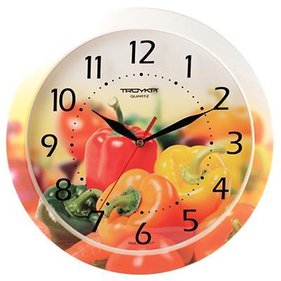Часы настенные Troyka, цвет: белый, желтый, оранжевый. 1100002211000022Настенные кварцевые часы Troyka с изображением болгарского перца, изготовленные из пластика, прекрасно подойдут под интерьер вашего дома. Круглые часы имеют три стрелки: часовую, минутную и секундную, циферблат защищен прозрачным пластиком. Диаметр часов: 29 см. Часы работают от 1 батарейки типа АА напряжением 1,5 В. Внимание! Часы укомплектованы бесплатным тестовым элементом питания для обеспечения их работоспособности при предпродажной подготовке и демонстрации рабочих функций.