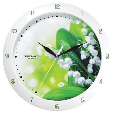 Часы настенные Troyka Ландыши, цвет: белый, желтый, зеленый11110137Настенные кварцевые часы Troyka Ландыши в классическом стиле, изготовленные из пластика, прекрасно подойдут под интерьер вашего дома. Круглые часы имеют три стрелки: часовую, минутную и секундную, циферблат защищен прозрачным пластиком. Диаметр часов: 29 см. Часы работают от 1 батарейки типа АА напряжением 1,5 В. Внимание! Часы укомплектованы бесплатным тестовым элементом питания для обеспечения их работоспособности при предпродажной подготовке и демонстрации рабочих функций.