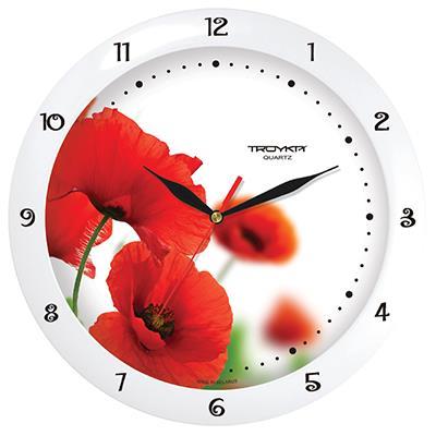 Часы настенные Troyka Красные маки, цвет: белый, красный11110139Настенные кварцевые часы Troyka Красные маки в классическом стиле, изготовленные из пластика, прекрасно подойдут под интерьер вашего дома. Круглые часы имеют три стрелки: часовую, минутную и секундную, циферблат защищен прозрачным пластиком. Диаметр часов: 29 см. Часы работают от 1 батарейки типа АА напряжением 1,5 В. Внимание! Часы укомплектованы бесплатным тестовым элементом питания для обеспечения их работоспособности при предпродажной подготовке и демонстрации рабочих функций.