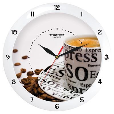 Часы настенные Troyka Эспрессо, цвет: белый, коричневый11110143Настенные кварцевые часы Troyka Эспрессо в классическом стиле, изготовленные из пластика, прекрасно подойдут под интерьер вашего дома. Круглые часы имеют три стрелки: часовую, минутную и секундную, циферблат защищен прозрачным пластиком. Диаметр часов: 29 см. Часы работают от 1 батарейки типа АА напряжением 1,5 В. Внимание! Часы укомплектованы бесплатным тестовым элементом питания для обеспечения их работоспособности при предпродажной подготовке и демонстрации рабочих функций.