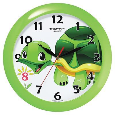 Часы настенные Troyka, цвет: зеленый. 1112112911121129Настенные кварцевые часы Troyka с изображением черепашки, изготовленные из пластика, прекрасно подойдут под интерьер вашего дома. Круглые часы имеют три стрелки: часовую, минутную и секундную, циферблат защищен прозрачным пластиком. Диаметр часов: 29 см. Часы работают от 1 батарейки типа АА напряжением 1,5 В. Внимание! Часы укомплектованы бесплатным тестовым элементом питания для обеспечения их работоспособности при предпродажной подготовке и демонстрации рабочих функций.