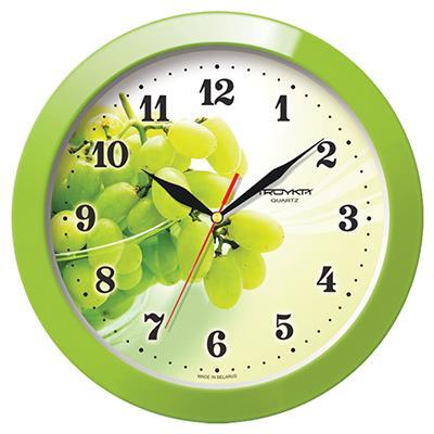 Часы настенные Troyka, цвет: зеленый. 1112116111121161Настенные кварцевые часы Troyka с изображением грозди винограда, изготовленные из пластика, прекрасно подойдут под интерьер вашего дома. Круглые часы имеют три стрелки: часовую, минутную и секундную, циферблат защищен прозрачным пластиком. Диаметр часов: 29 см. Часы работают от 1 батарейки типа АА напряжением 1,5 В. Внимание! Часы укомплектованы бесплатным тестовым элементом питания для обеспечения их работоспособности при предпродажной подготовке и демонстрации рабочих функций.