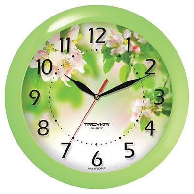 Часы настенные Troyka, зеленый. 1112118611121186TROYKA 11121186 Часы настенные (яблоневый цвет,салатовое кольцо,пластик) Материал: пластик; размер: диаметр 290 мм; цвет: зеленый
