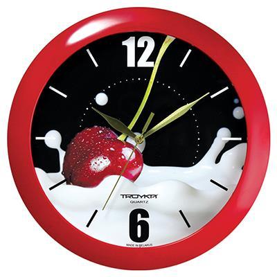 Часы настенные Troyka, цвет: красный. 1113012811130128Настенные кварцевые часы Troyka с изображением вишни, изготовленные из пластика, прекрасно подойдут под интерьер вашего дома. Круглые часы имеют три стрелки: часовую, минутную и секундную, циферблат защищен прозрачным пластиком. Диаметр часов: 29 см. Часы работают от 1 батарейки типа АА напряжением 1,5 В. Внимание! Часы укомплектованы бесплатным тестовым элементом питания для обеспечения их работоспособности при предпродажной подготовке и демонстрации рабочих функций.