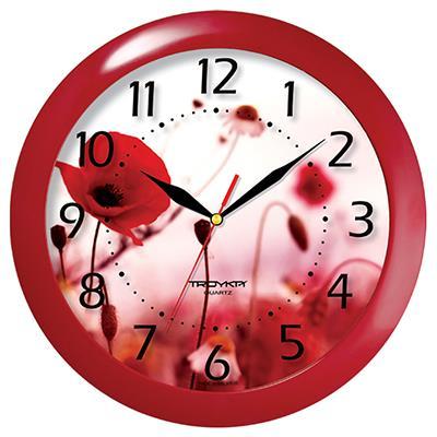 Часы настенные Troyka, цвет: бордовый. 1113014511130145Настенные кварцевые часы Troyka с изображением полевых маков, изготовленные из пластика, прекрасно подойдут под интерьер вашего дома. Круглые часы имеют три стрелки: часовую, минутную и секундную, циферблат защищен прозрачным пластиком. Диаметр часов: 29 см. Часы работают от 1 батарейки типа АА напряжением 1,5 В. Внимание! Часы укомплектованы бесплатным тестовым элементом питания для обеспечения их работоспособности при предпродажной подготовке и демонстрации рабочих функций.