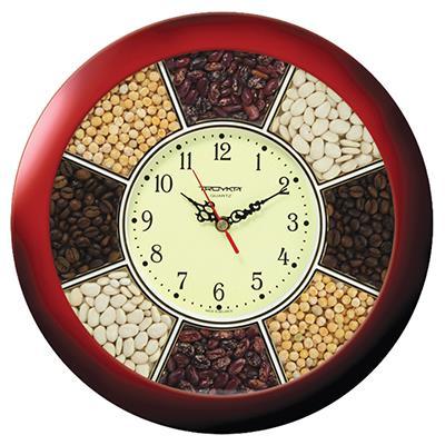 Часы настенные Troyka, цвет: коричневый. 1113114111131141Настенные кварцевые часы Troyka, изготовленные из пластика, прекрасно подойдут под интерьер вашего дома. Круглые часы имеют три стрелки: часовую, минутную и секундную, циферблат защищен прозрачным пластиком. Циферблат обрамлен рамкой с ячейками, наполненными фасолью, горохом и кофейными зернами. Диаметр часов: 29 см. Часы работают от 1 батарейки типа АА напряжением 1,5 В. Внимание! Часы укомплектованы бесплатным тестовым элементом питания для обеспечения их работоспособности при предпродажной подготовке и демонстрации рабочих функций.