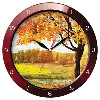 Часы настенные Troyka, цвет: коричневый. 1113114811131148Настенные кварцевые часы Troyka с изображением осеннего пейзажа, изготовленные из пластика, прекрасно подойдут под интерьер вашего дома. Круглые часы имеют три стрелки: часовую, минутную и секундную, циферблат защищен прозрачным пластиком. Диаметр часов: 29 см. Часы работают от 1 батарейки типа АА напряжением 1,5 В. Внимание! Часы укомплектованы бесплатным тестовым элементом питания для обеспечения их работоспособности при предпродажной подготовке и демонстрации рабочих функций.