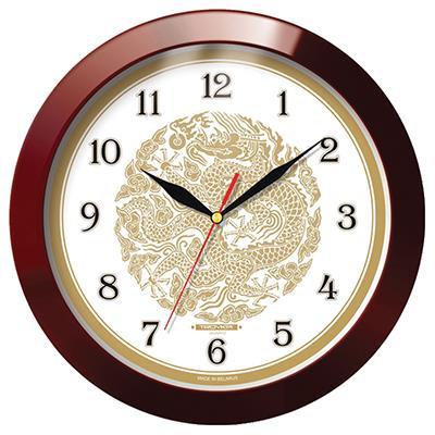 Часы настенные Troyka, цвет: коричневый. 1113119011131190Настенные кварцевые часы Troyka с изображением дракона, изготовленные из пластика, прекрасно подойдут под интерьер вашего дома. Круглые часы имеют три стрелки: часовую, минутную и секундную, циферблат защищен прозрачным пластиком. Диаметр часов: 29,5 см. Часы работают от 1 батарейки типа АА напряжением 1,5 В. Внимание! Часы укомплектованы бесплатным тестовым элементом питания для обеспечения их работоспособности при предпродажной подготовке и демонстрации рабочих функций.