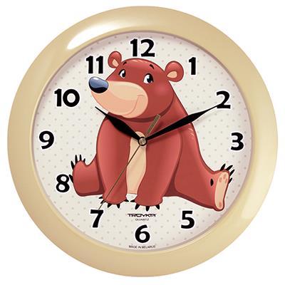 Часы настенные Troyka Медвежонок, цвет: бежевый11135130Настенные кварцевые часы Troyka Медвежонок в классическом стиле, изготовленные из пластика, прекрасно подойдут под интерьер вашего дома. Круглые часы имеют три стрелки: часовую, минутную и секундную, циферблат защищен прозрачным пластиком. Диаметр часов: 29 см. Часы работают от 1 батарейки типа АА напряжением 1,5 В. Внимание! Часы укомплектованы бесплатным тестовым элементом питания для обеспечения их работоспособности при предпродажной подготовке и демонстрации рабочих функций.