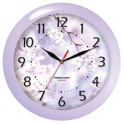 Часы настенные Troyka Цветущая вишня, цвет: сиреневый11143138Настенные кварцевые часы Troyka Цветущая вишня в классическом стиле, изготовленные из пластика, прекрасно подойдут под интерьер вашего дома. Круглые часы имеют три стрелки: часовую, минутную и секундную, циферблат защищен прозрачным пластиком. Диаметр часов: 29 см. Часы работают от 1 батарейки типа АА напряжением 1,5 В. Внимание! Часы укомплектованы бесплатным тестовым элементом питания для обеспечения их работоспособности при предпродажной подготовке и демонстрации рабочих функций.