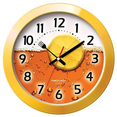 Часы настенные Troyka, цвет: желтый. 1115013211150132Настенные кварцевые часы Troyka с изображением чая с лимоном, изготовленные из пластика, прекрасно подойдут под интерьер вашего дома. Круглые часы имеют три стрелки: часовую, минутную и секундную, циферблат защищен прозрачным пластиком. Стрелки выполнены в виде ножа и вилки. Диаметр часов: 29 см. Часы работают от 1 батарейки типа АА напряжением 1,5 В. Внимание! Часы укомплектованы бесплатным тестовым элементом питания для обеспечения их работоспособности при предпродажной подготовке и демонстрации рабочих функций.