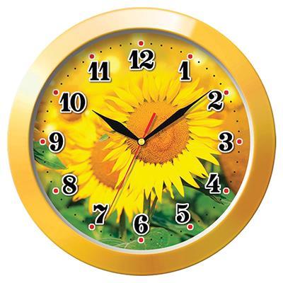 Часы настенные Troyka, цвет: желтый. 1115015411150154Настенные кварцевые часы Troyka с изображением подсолнухов, изготовленные из пластика, прекрасно подойдут под интерьер вашего дома. Круглые часы имеют три стрелки: часовую, минутную и секундную, циферблат защищен прозрачным пластиком. Диаметр часов: 29 см. Часы работают от 1 батарейки типа АА напряжением 1,5 В. Внимание! Часы укомплектованы бесплатным тестовым элементом питания для обеспечения их работоспособности при предпродажной подготовке и демонстрации рабочих функций.