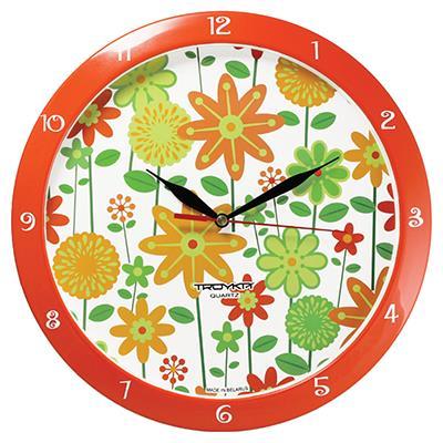 Часы настенные Troyka, цвет: оранжевый. 1115112011151120Настенные кварцевые часы Troyka с изображением цветов, изготовленные из пластика, прекрасно подойдут под интерьер вашего дома. Круглые часы имеют три стрелки: часовую, минутную и секундную, циферблат защищен прозрачным пластиком. Диаметр часов: 29 см. Часы работают от 1 батарейки типа АА напряжением 1,5 В. Внимание! Часы укомплектованы бесплатным тестовым элементом питания для обеспечения их работоспособности при предпродажной подготовке и демонстрации рабочих функций.