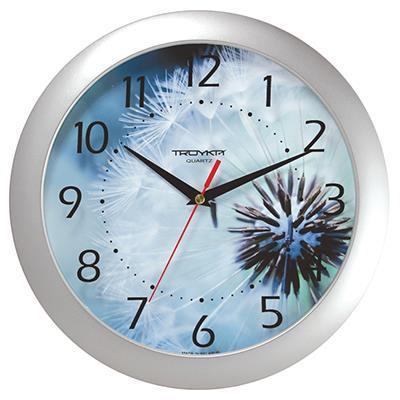 Часы настенные Troyka, серебро. 1117012511170125TROYKA 11170125 часы настенные (Одуванчик, круг, пластик, печать цифр по стеклу)