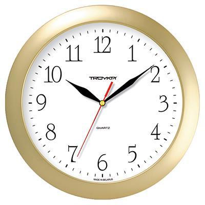 Часы настенные Troyka, цвет: золотой. 1117111311171113Настенные кварцевые часы Troyka в классическом дизайне, изготовленные из пластика, прекрасно подойдут под интерьер вашего дома. Круглые часы имеют три стрелки: часовую, минутную и секундную, циферблат защищен прозрачным пластиком. Диаметр часов: 29 см. Часы работают от 1 батарейки типа АА напряжением 1,5 В. Внимание! Часы укомплектованы бесплатным тестовым элементом питания для обеспечения их работоспособности при предпродажной подготовке и демонстрации рабочих функций.