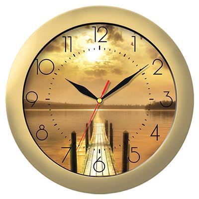 Часы настенные Troyka, цвет: золотой. 1117114611171146Настенные кварцевые часы Troyka с изображением мостика и заката, изготовленные из пластика, прекрасно подойдут под интерьер вашего дома. Круглые часы имеют три стрелки: часовую, минутную и секундную, циферблат защищен прозрачным пластиком. Диаметр часов: 29 см. Часы работают от 1 батарейки типа АА напряжением 1,5 В. Внимание! Часы укомплектованы бесплатным тестовым элементом питания для обеспечения их работоспособности при предпродажной подготовке и демонстрации рабочих функций.