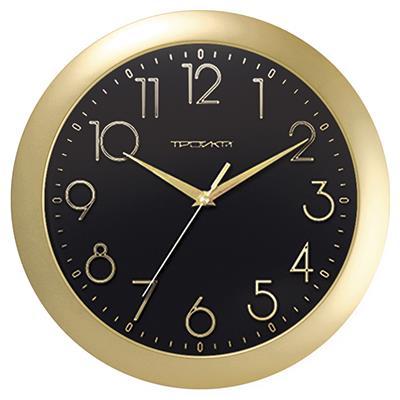 Часы настенные Troyka, цвет: золотой, черный. 1117118011171180Настенные кварцевые часы Troyka в классическом стиле, изготовленные из пластика, прекрасно подойдут под интерьер вашего дома. Круглые часы имеют три стрелки: часовую, минутную и секундную, циферблат защищен прозрачным пластиком. Диаметр часов: 29 см. Часы работают от 1 батарейки типа АА напряжением 1,5 В. Внимание! Часы укомплектованы бесплатным тестовым элементом питания для обеспечения их работоспособности при предпродажной подготовке и демонстрации рабочих функций.