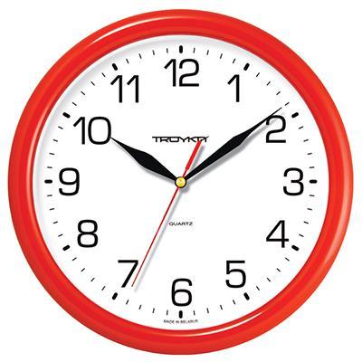 Часы настенные Troyka, цвет: красный. 2123021321230213Настенные кварцевые часы Troyka в классическом стиле, изготовленные из пластика, прекрасно подойдут под интерьер вашего дома. Круглые часы имеют три стрелки: часовую, минутную и секундную, циферблат защищен прозрачным пластиком. Диаметр часов: 24,5 см. Часы работают от 1 батарейки типа АА напряжением 1,5 В. Внимание! Часы укомплектованы бесплатным тестовым элементом питания для обеспечения их работоспособности при предпродажной подготовке и демонстрации рабочих функций.
