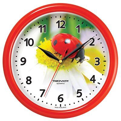 Часы настенные Troyka, красный. 2123022121230221TROYKA 21230221 Часы настенные (Божья коровка,красн.кольцо)