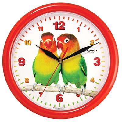 Часы настенные Troyka, цвет: красный. 2123022721230227Настенные кварцевые часы Troyka с изображением попугаев, изготовленные из пластика, прекрасно подойдут под интерьер вашего дома. Круглые часы имеют три стрелки: часовую, минутную и секундную, циферблат защищен прозрачным пластиком. Диаметр часов: 24,5 см. Часы работают от 1 батарейки типа АА напряжением 1,5 В. Внимание! Часы укомплектованы бесплатным тестовым элементом питания для обеспечения их работоспособности при предпродажной подготовке и демонстрации рабочих функций.