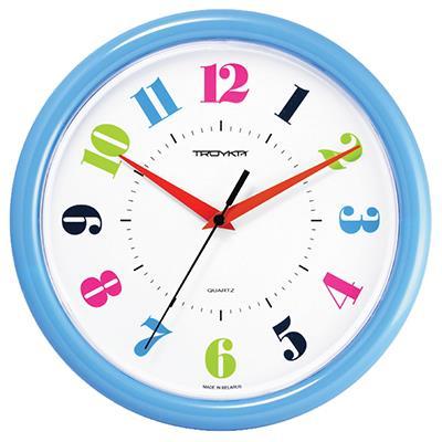 Часы настенные Troyka, цвет: голубой. 2124121521241215Настенные кварцевые часы Troyka в классическом стиле, изготовленные из пластика, прекрасно подойдут под интерьер вашего дома. Круглые часы имеют три стрелки: часовую, минутную и секундную, циферблат защищен прозрачным пластиком. Диаметр часов: 24,5 см. Часы работают от 1 батарейки типа АА напряжением 1,5 В. Внимание! Часы укомплектованы бесплатным тестовым элементом питания для обеспечения их работоспособности при предпродажной подготовке и демонстрации рабочих функций.
