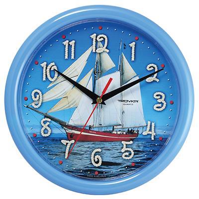 Часы настенные Troyka Парусник, цвет: голубой21241250Настенные кварцевые часы Troyka Парусник в классическом стиле, изготовленные из пластика, прекрасно подойдут под интерьер вашего дома. Круглые часы имеют три стрелки: часовую, минутную и секундную, циферблат защищен прозрачным пластиком. Диаметр часов: 24,5 см. Часы работают от 1 батарейки типа АА напряжением 1,5 В. Внимание! Часы укомплектованы бесплатным тестовым элементом питания для обеспечения их работоспособности при предпродажной подготовке и демонстрации рабочих функций.