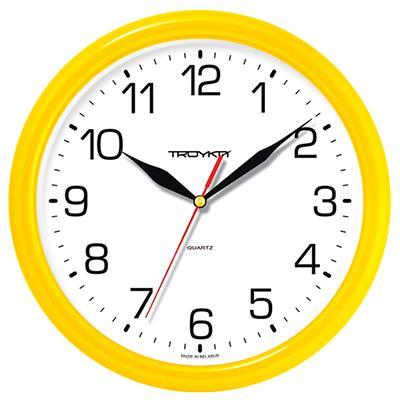 Часы настенные Troyka, желтый. 2125021321250213Настенные кварцевые часы Troyka в классическом стиле, изготовленные из пластика, прекрасно подойдут под интерьер вашего дома. Круглые часы имеют три стрелки: часовую, минутную и секундную, циферблат защищен прозрачным пластиком. Диаметр часов: 24,5 см. Часы работают от 1 батарейки типа АА напряжением 1,5 В. Внимание! Часы укомплектованы бесплатным тестовым элементом питания для обеспечения их работоспособности при предпродажной подготовке и демонстрации рабочих функций.