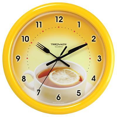 Часы настенные Troyka Чай с лимоном, цвет: желтый21250253Настенные кварцевые часы Troyka Чай с лимоном в классическом стиле, изготовленные из пластика, прекрасно подойдут под интерьер вашего дома. Круглые часы имеют три стрелки: часовую, минутную и секундную, циферблат защищен прозрачным пластиком. Диаметр часов: 24,5 см. Часы работают от 1 батарейки типа АА напряжением 1,5 В. Внимание! Часы укомплектованы бесплатным тестовым элементом питания для обеспечения их работоспособности при предпродажной подготовке и демонстрации рабочих функций.