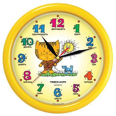 Часы настенные Troyka, цвет: желтый. 2125029021250290Настенные кварцевые часы Troyka с изображением котенка, изготовленные из пластика, прекрасно подойдут под интерьер вашего дома. Круглые часы имеют три стрелки: часовую, минутную и секундную, циферблат защищен прозрачным пластиком. Диаметр часов: 24,5 см. Часы работают от 1 батарейки типа АА напряжением 1,5 В. Внимание! Часы укомплектованы бесплатным тестовым элементом питания для обеспечения их работоспособности при предпродажной подготовке и демонстрации рабочих функций.