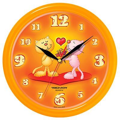 Часы настенные Troyka, цвет: оранжевый. 2125123421251234Настенные кварцевые часы Troyka с изображением котят с сердечком, изготовленные из пластика, прекрасно подойдут под интерьер вашего дома. Круглые часы имеют три стрелки: часовую, минутную и секундную, циферблат защищен прозрачным пластиком. Диаметр часов: 24,5 см. Часы работают от 1 батарейки типа АА напряжением 1,5 В. Внимание! Часы укомплектованы бесплатным тестовым элементом питания для обеспечения их работоспособности при предпродажной подготовке и демонстрации рабочих функций.