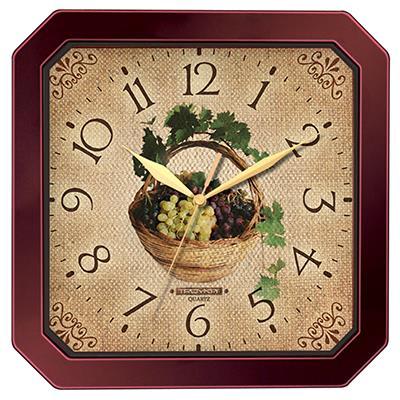 Часы настенные Troyka, цвет: коричневый. 3133131131331311Настенные кварцевые часы Troyka с изображением корзины винограда, изготовленные из пластика, прекрасно подойдут под интерьер вашего дома. Квадратные часы имеют три стрелки: часовую, минутную и секундную, циферблат защищен прозрачным пластиком. Размер часов: 29 см х 29 см х 3,5 см. Часы работают от 1 батарейки типа АА напряжением 1,5 В. Внимание! Часы укомплектованы бесплатным тестовым элементом питания для обеспечения их работоспособности при предпродажной подготовке и демонстрации рабочих функций.