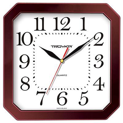 Часы настенные Troyka, цвет: коричневый. 3133131631331316Настенные кварцевые часы Troyka, выполненные в классическом стиле, изготовленные из пластика, прекрасно подойдут под интерьер вашего дома. Квадратные часы имеют три стрелки: часовую, минутную и секундную, циферблат защищен прозрачным пластиком. Размер часов: 29 см х 29 см х 3,5 см. Часы работают от 1 батарейки типа АА напряжением 1,5 В. Внимание! Часы укомплектованы бесплатным тестовым элементом питания для обеспечения их работоспособности при предпродажной подготовке и демонстрации рабочих функций.