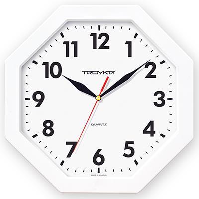 Часы настенные Troyka, цвет: белый. 4141041841410418Настенные кварцевые часы Troyka в классическом стиле, изготовленные из пластика, прекрасно подойдут под интерьер вашего дома. Восьмиугольные часы имеют три стрелки: часовую, минутную и секундную, циферблат защищен прозрачным пластиком. Диаметр часов: 29 см. Часы работают от 1 батарейки типа АА напряжением 1,5 В. Внимание! Часы укомплектованы бесплатным тестовым элементом питания для обеспечения их работоспособности при предпродажной подготовке и демонстрации рабочих функций.