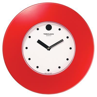 Часы настенные Troyka, цвет: красный. 5555355655553556Настенные кварцевые часы Troyka в классическом стиле, изготовленные из пластика, прекрасно подойдут под интерьер вашего дома. Круглые часы имеют три стрелки: часовую, минутную и секундную, циферблат защищен прозрачным пластиком. Диаметр часов: 37,5 см. Часы работают от 1 батарейки типа АА напряжением 1,5 В. Внимание! Часы укомплектованы бесплатным тестовым элементом питания для обеспечения их работоспособности при предпродажной подготовке и демонстрации рабочих функций.